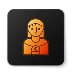 Orange glowing neon astrology woman icon isolated vector