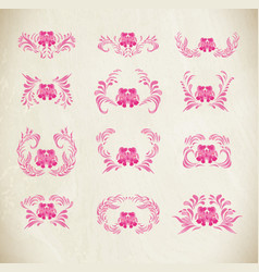 Pink ornament on white background vector
