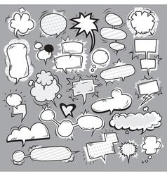 pop art black white bubbles set vector image