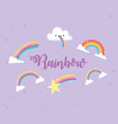 rainbow lettering with clouds shooting star vector image