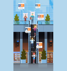Retail store visitors moving staircase escalator vector
