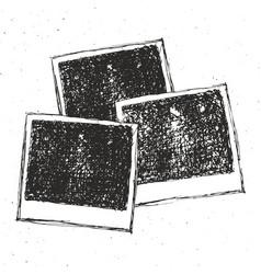 Retro photo frame hand drawn sketch set template vector