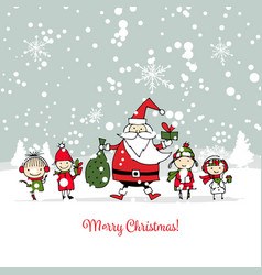 Santa claus with children christmas card vector
