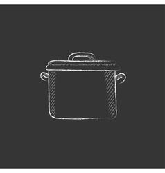 Saucepan Drawn in chalk icon vector image