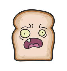 Scared slice bread cartoon vector