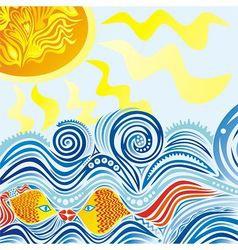 Sea sun fishes pattern vector image