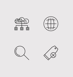 Seo and marketing simple linear icons set vector