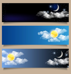 set day and night horizontal banners vector image