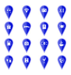 Set of blue map pointers with hotel services icons vector