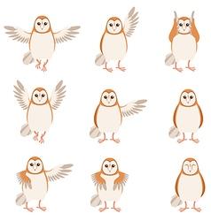 Set of flat screech-owl icons vector image