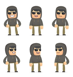 set of hacker character in different poses vector image