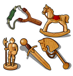 set of toys made of wood isolated on white vector image