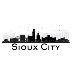 Sioux city skyline black and white silhouette vector