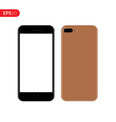 Smartphone mobile phone brown color mockup vector