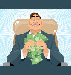 Smiling businessman with money vector
