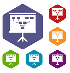 Soccer or football field scheme icons set hexagon vector