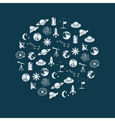 space icons in circle vector image vector image