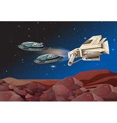 Spaceships flying over the land vector image