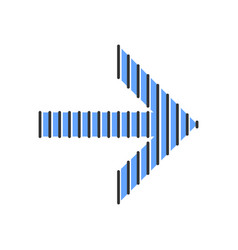 Striped blue arrow color icon arrowhead vector