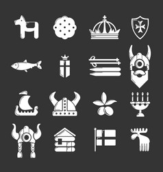 sweden travel icons set grey vector image