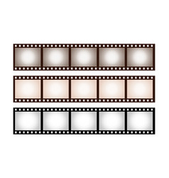 Three vintage stripes five frames 35 mm film vector