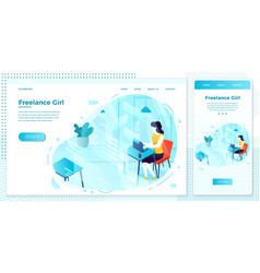 Web online freelancer girl with notebook vector