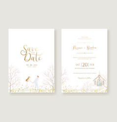 wedding invitation card and save date template vector image