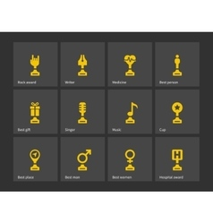 Winning cup icons vector