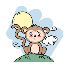 Cute monkey animal in the mountain with sun and vector