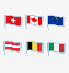 flags italy canada european union vector image