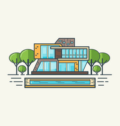 flat line modern house vector image vector image