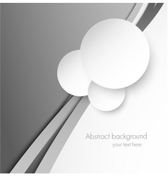 Abstract gray background with paper circles vector image vector image