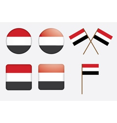 badges with flag of Yemen vector image vector image