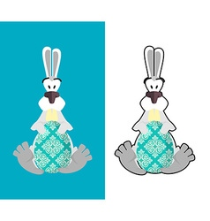 Easter egg and Easter Bunny Bunny and egg Funny vector image