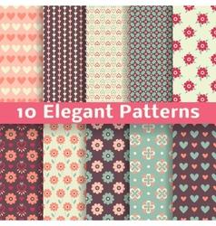 Elegant romantic seamless patterns tiling Retro vector image