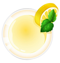 A topview of a glass with a lemon juice vector image vector image