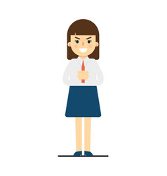 angry young woman with folded hands gesture vector image vector image