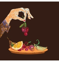 Hand With Fruits vector image