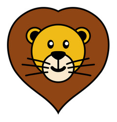 simple cartoon of a cute lion vector image vector image