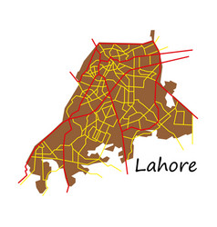 Lahore city map color flat panoramic vector