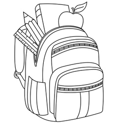 outlined school backpack vector image vector image