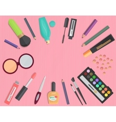 Set of colorful cosmetic isolated on a pink vector image vector image