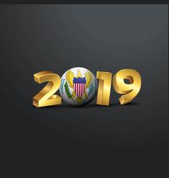 2019 golden typography with virgin islands us vector