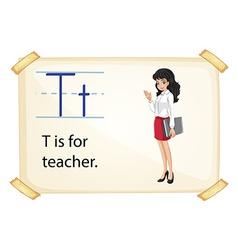 A letter T for teacher vector