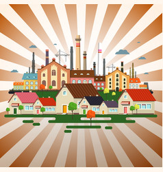 Abstract town on retro background factory in city vector