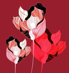 abstraction vivid graphics tulips on maroon vector image