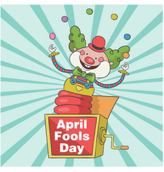 April fools day a jester in box toy background vec vector