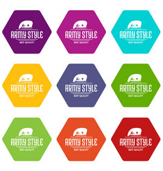 army style icons set 9 vector image