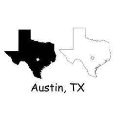 austin texas tx state border usa map vector image
