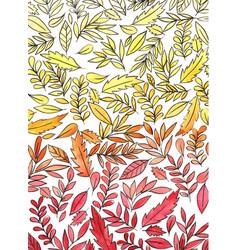 Autumn leaf doodle watercolor background vector